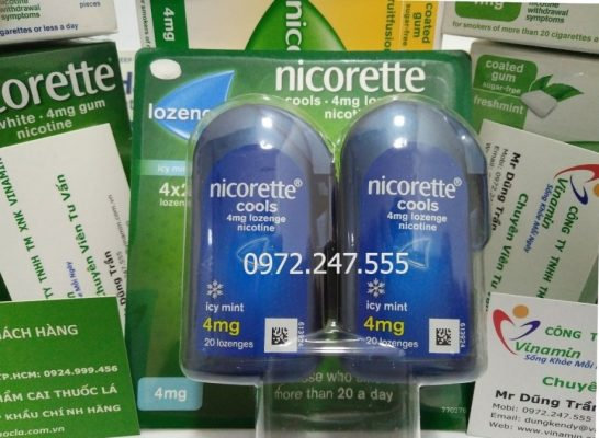 Kẹo ngậm cai thuốc lá Mỹ Nicorette 4mg